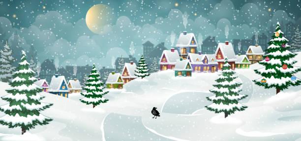 stockillustraties, clipart, cartoons en iconen met dorp winterlandschap - christmas cabin