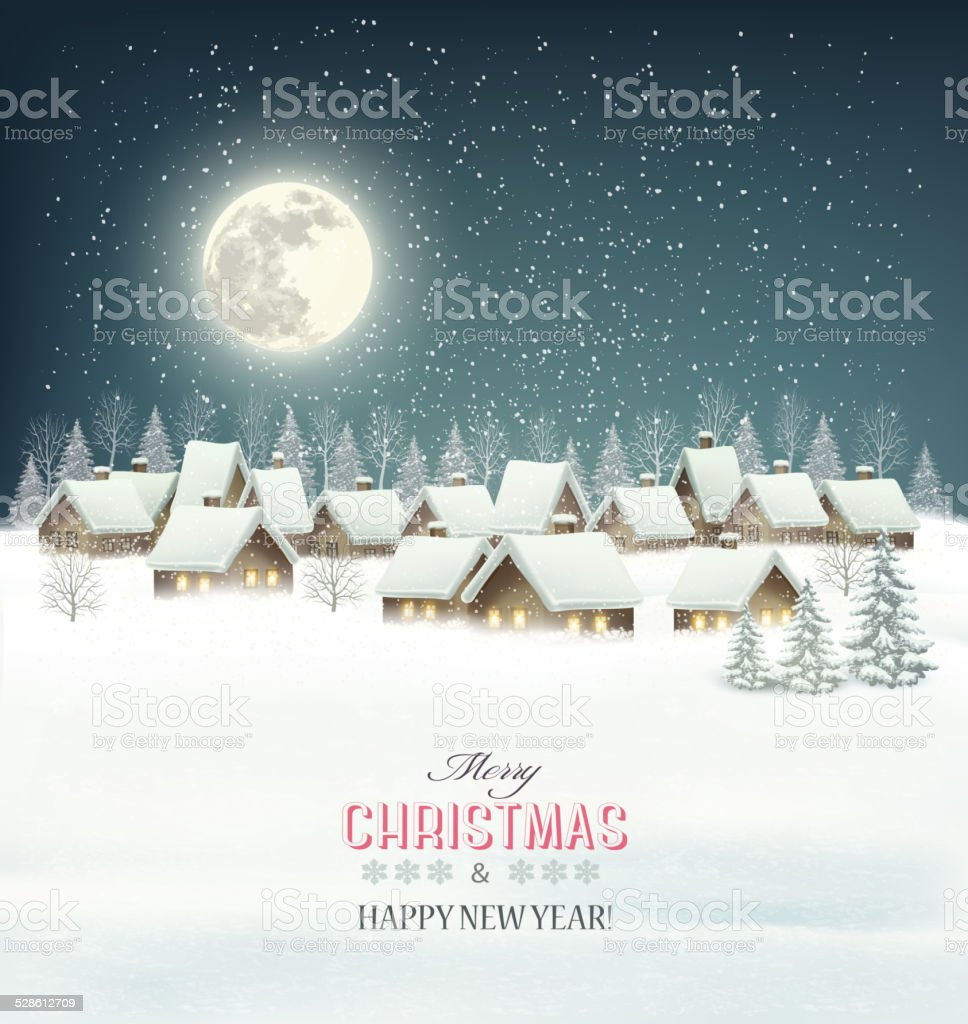 Winter village night background. Vector. vector art illustration