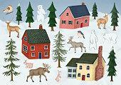 Winter village with animals