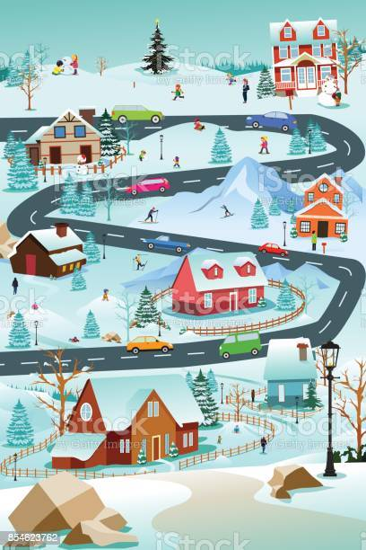 Winter Village With People Cars And Buildings Illustration Stock Illustration - Download Image Now