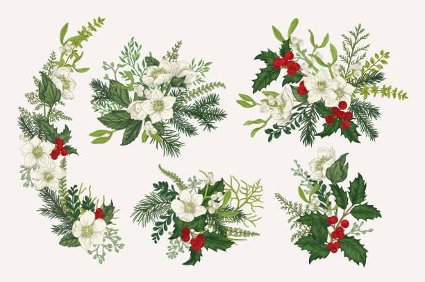 Winter vintage bouquets. vector art illustration
