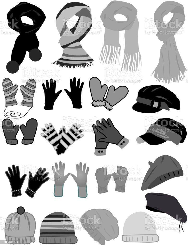 Winter wardrobe-icon vector vector art illustration