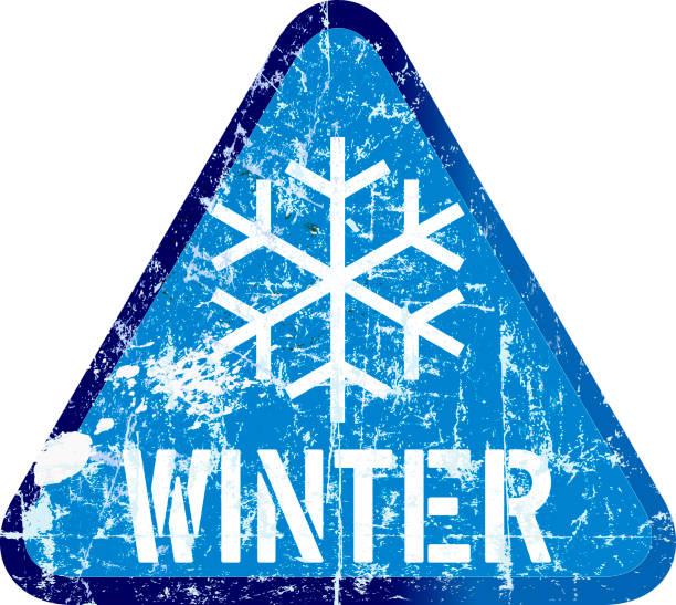 illustrazioni stock, clip art, cartoni animati e icone di tendenza di winter warning sign, vector illustration - car chill