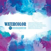 Winter Watercolor Background with Artistic splashes and place for text. Blue, violet, indigo, purple colors.
