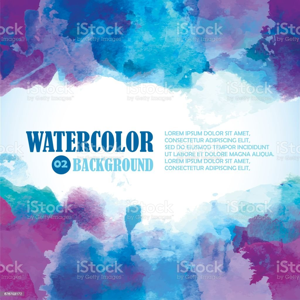 Winter Watercolor Background with Artistic splashes and place for text. Blue, violet, indigo, purple colors. vector art illustration