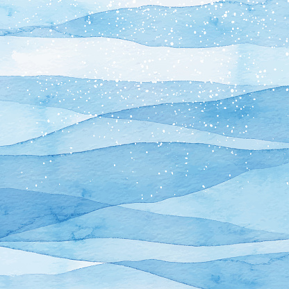 Winter Watercolor Blue Background With Snow