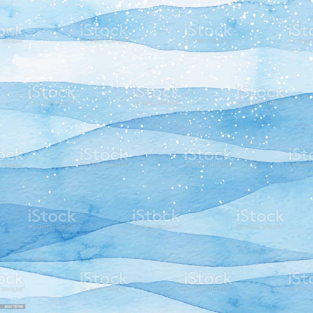 Fundo azul aquarela de inverno com neve - ilustração de arte em vetor