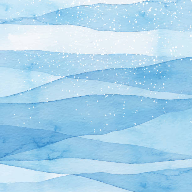 winter watercolor blue background with snow - blue drawings stock illustrations