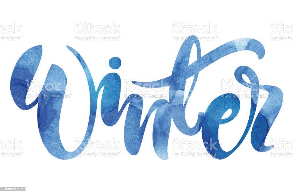 Winter watercolor typography vector art illustration
