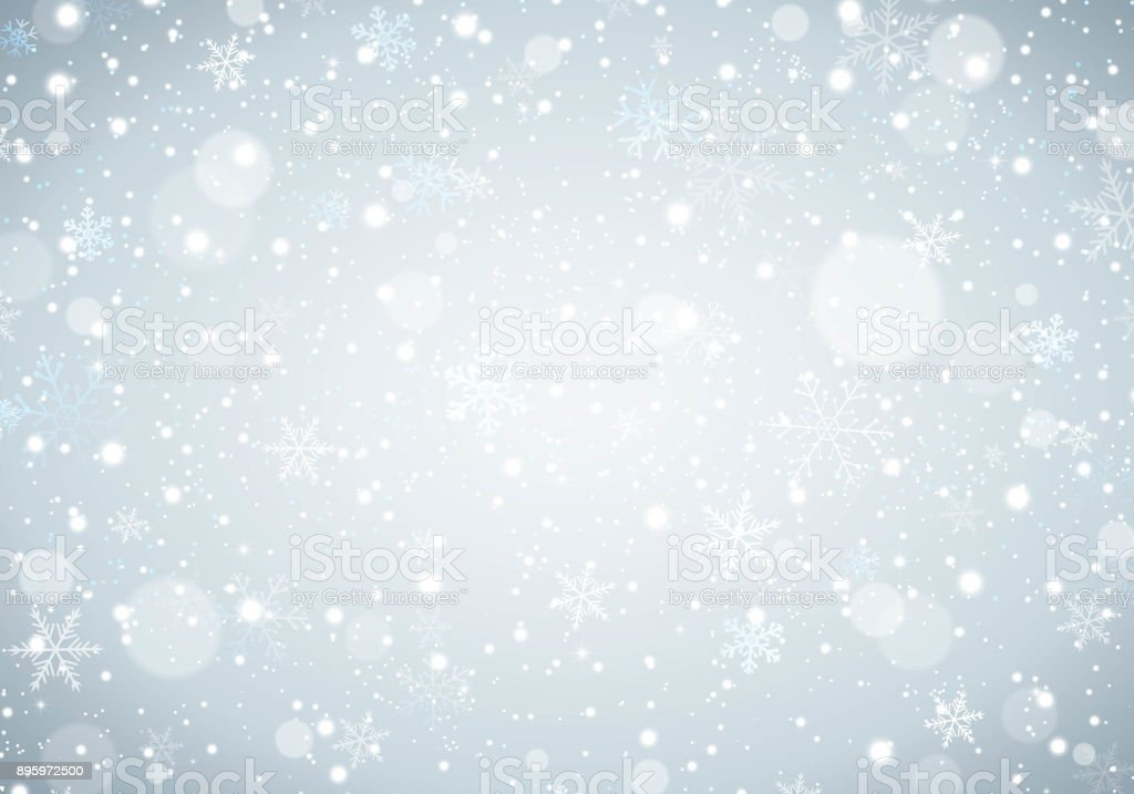 White Christmas Snow Background.Winter White Christmas Background With Snowflakes And Snow Stock Illustration Download Image Now