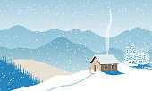 Winter with house, distant mountains, skies, snow, Snow flurry, sun light, chimney smoke, forest, ski run. Snow flurry, Fir tree. Vector illustration For wallpapers web postcards prints decoration