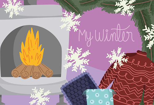winter with sweater chimney cushion and snowflakes card