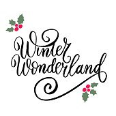 Winter wonderland. Christmas and New Year wishes. Hand lettering holiday quote. Modern calligraphy. Greeting cards design elements phrase