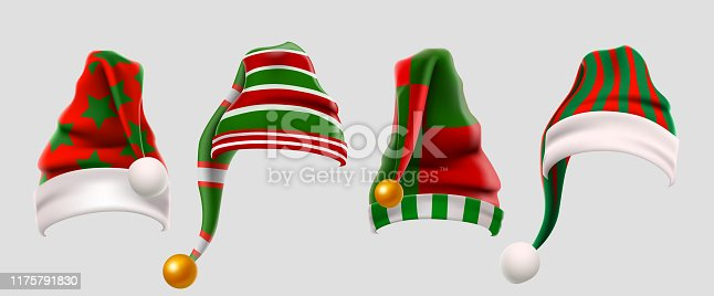 Winter Woolen Elves Hat Christmas Set. Xmas Green and Red Fur Cap Photo Booth Props for Kids. Santa Claus hat. Winter clothes. Christmas 3d realistic vector icon set.