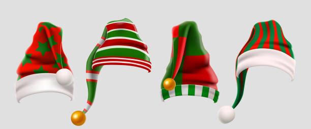 bildbanksillustrationer, clip art samt tecknat material och ikoner med vinter ull älvor hatt jul set. xmas grön och röd pälsmössa foto monter props för unge. jultomten hatt. vinterkläder. jul 3d realistisk vektor ikonuppsättning - hatt