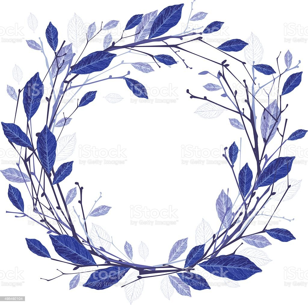 Winter wreath of twigs and leaves vector illustration vector art illustration