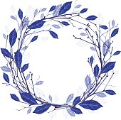 Winter wreath of twigs and leaves vector illustration