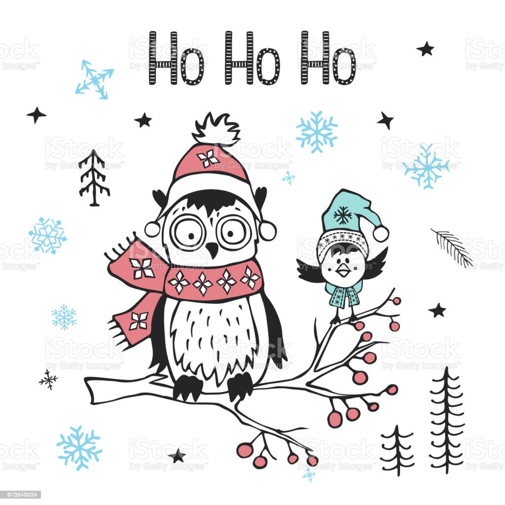 Winter Xmas Christmas Happy New Year Greeting Card With Cute Funny ...