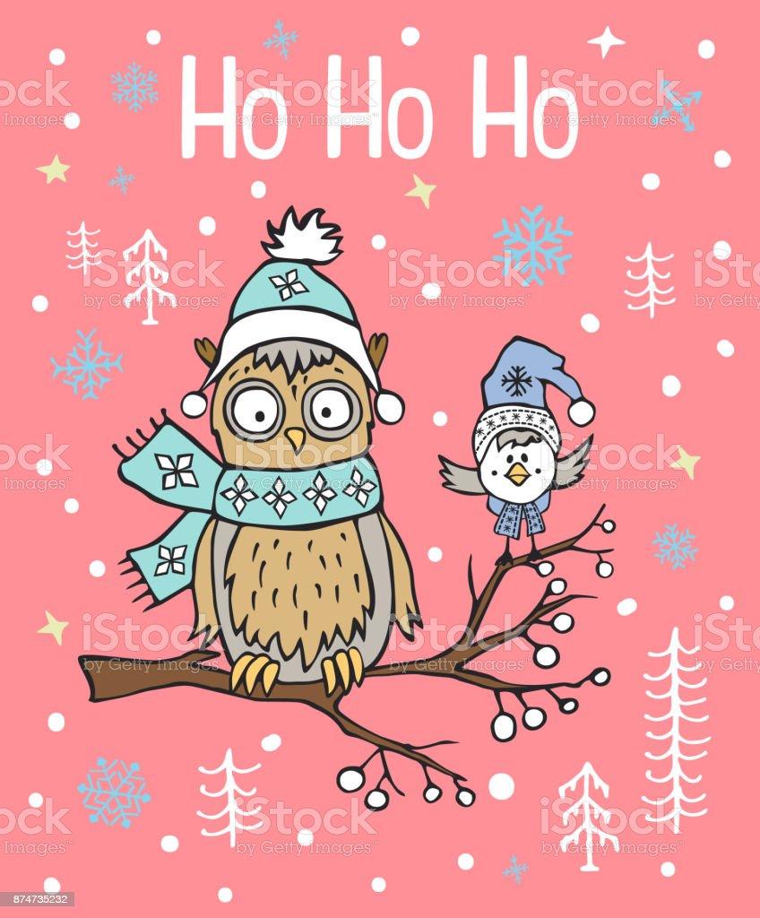 Winter Weihnachten Frohes Neues Jahr Gruß Weihnachtskarte Mit ...