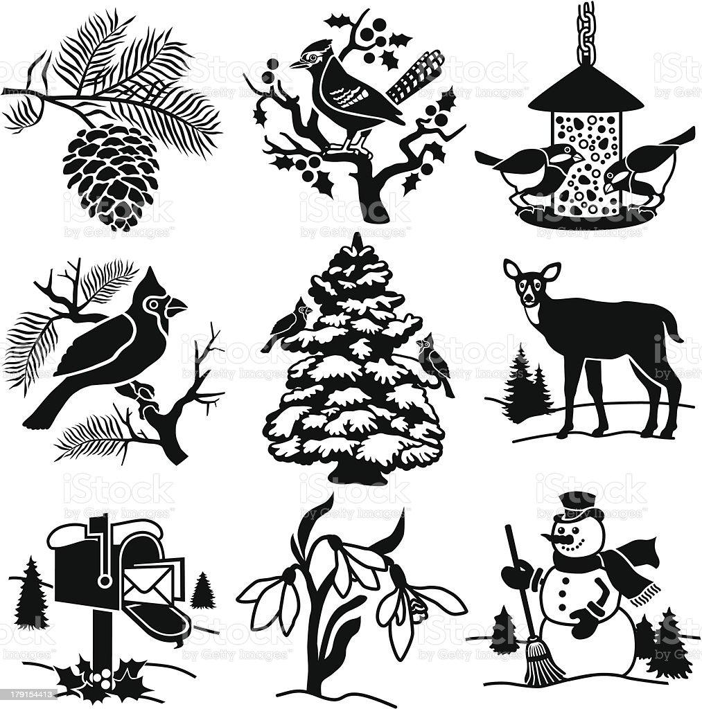 winter yard vector art illustration