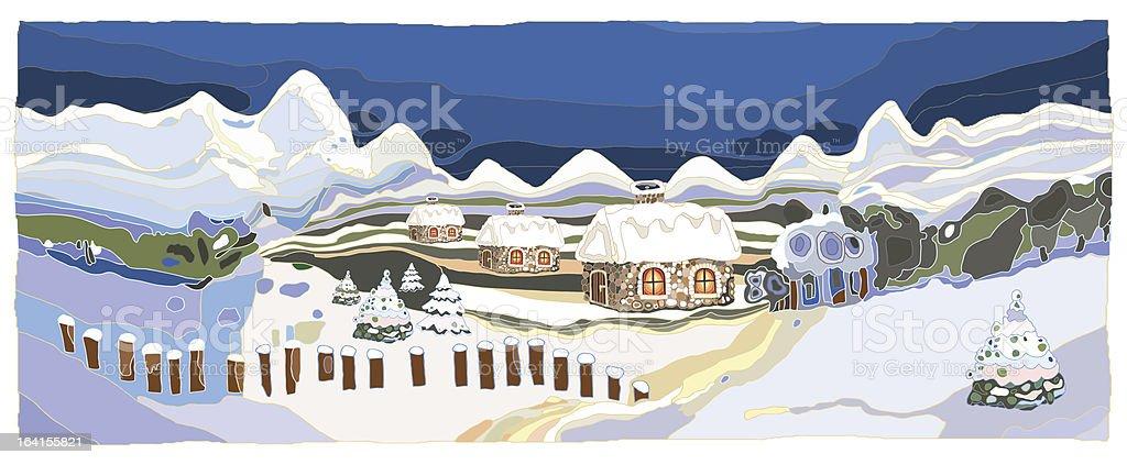 WinterLandscape vector art illustration