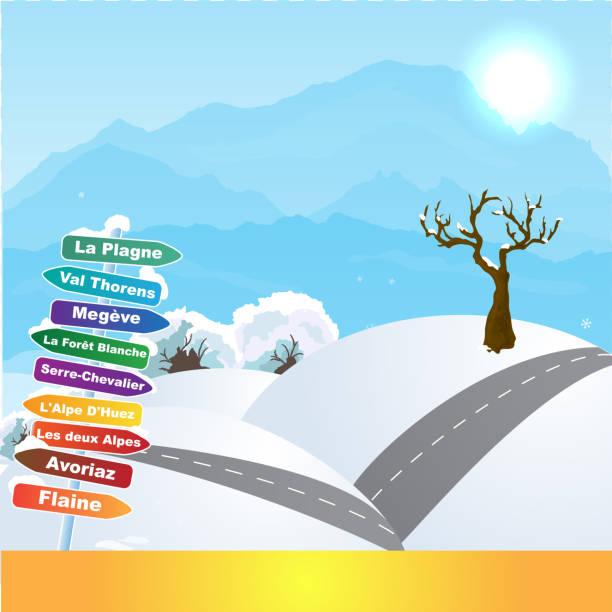 illustrazioni stock, clip art, cartoni animati e icone di tendenza di wintersports in french alps - monte bianco