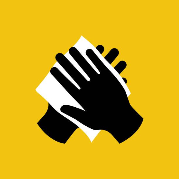 stockillustraties, clipart, cartoons en iconen met veeg je hand met vochtige doek zwart icoon. - servet