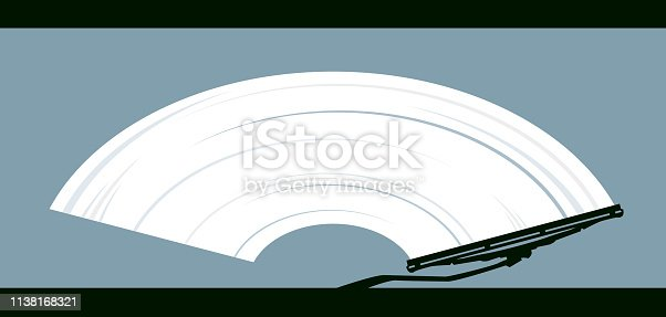 Vector Illustration of a Wiper Cleans Dirty Glass. Transparent eps for the use of graphic design work.
