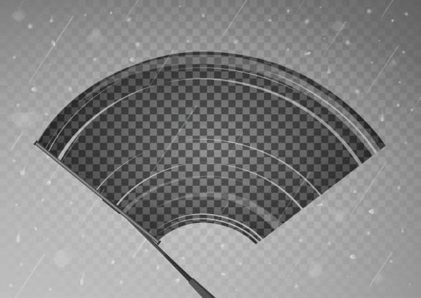 wischer reinigt das glas. regen und schnee auf transparenten hintergrund. - fenster putzen stock-grafiken, -clipart, -cartoons und -symbole