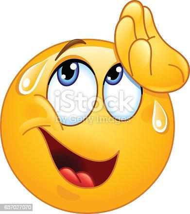 istock Wiping sweat emoticon 637027070