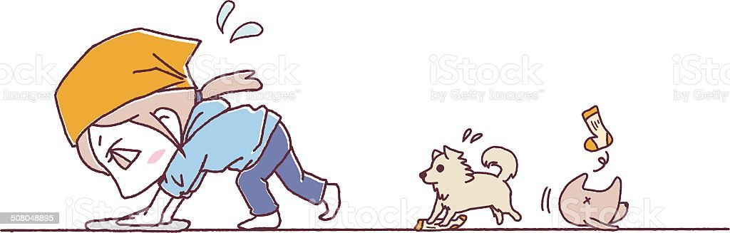 wiping_and_dog royalty-free stock vector art