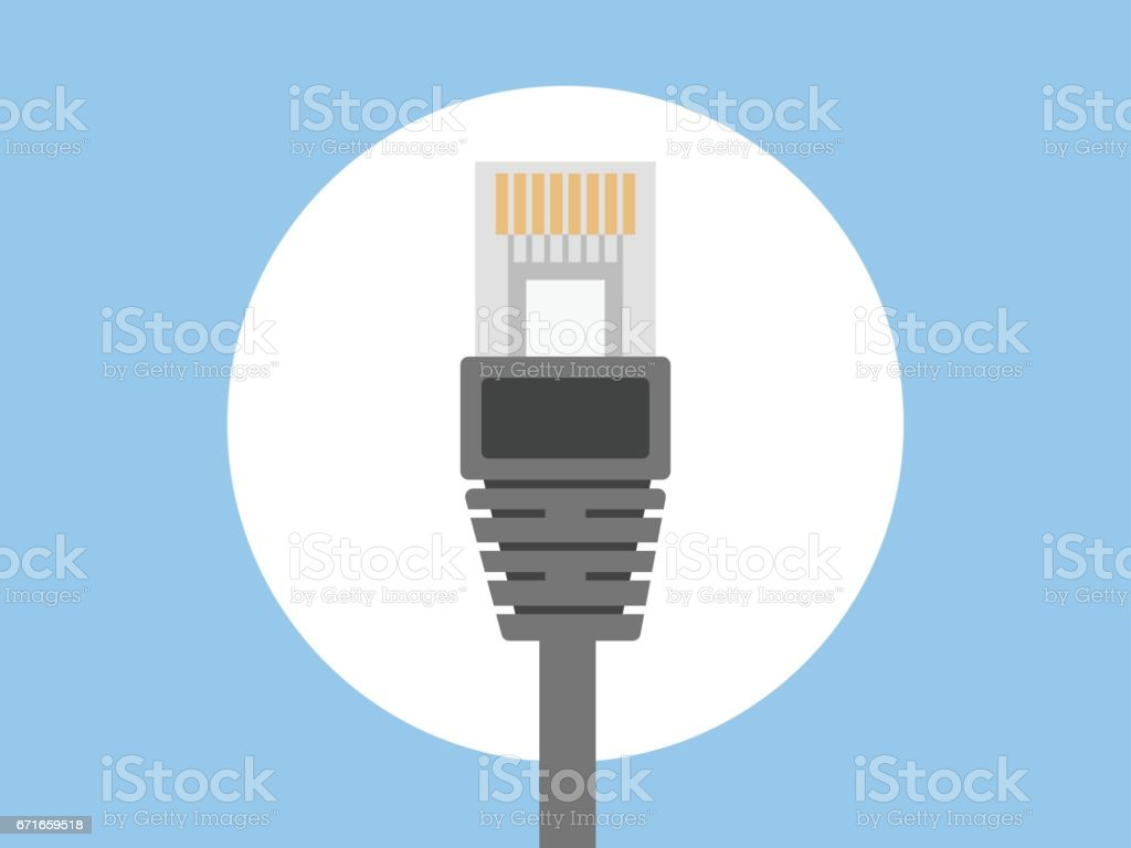 Lan Wire Ethernet Cable Icon Stock Vector Art & More Images of Cable ...