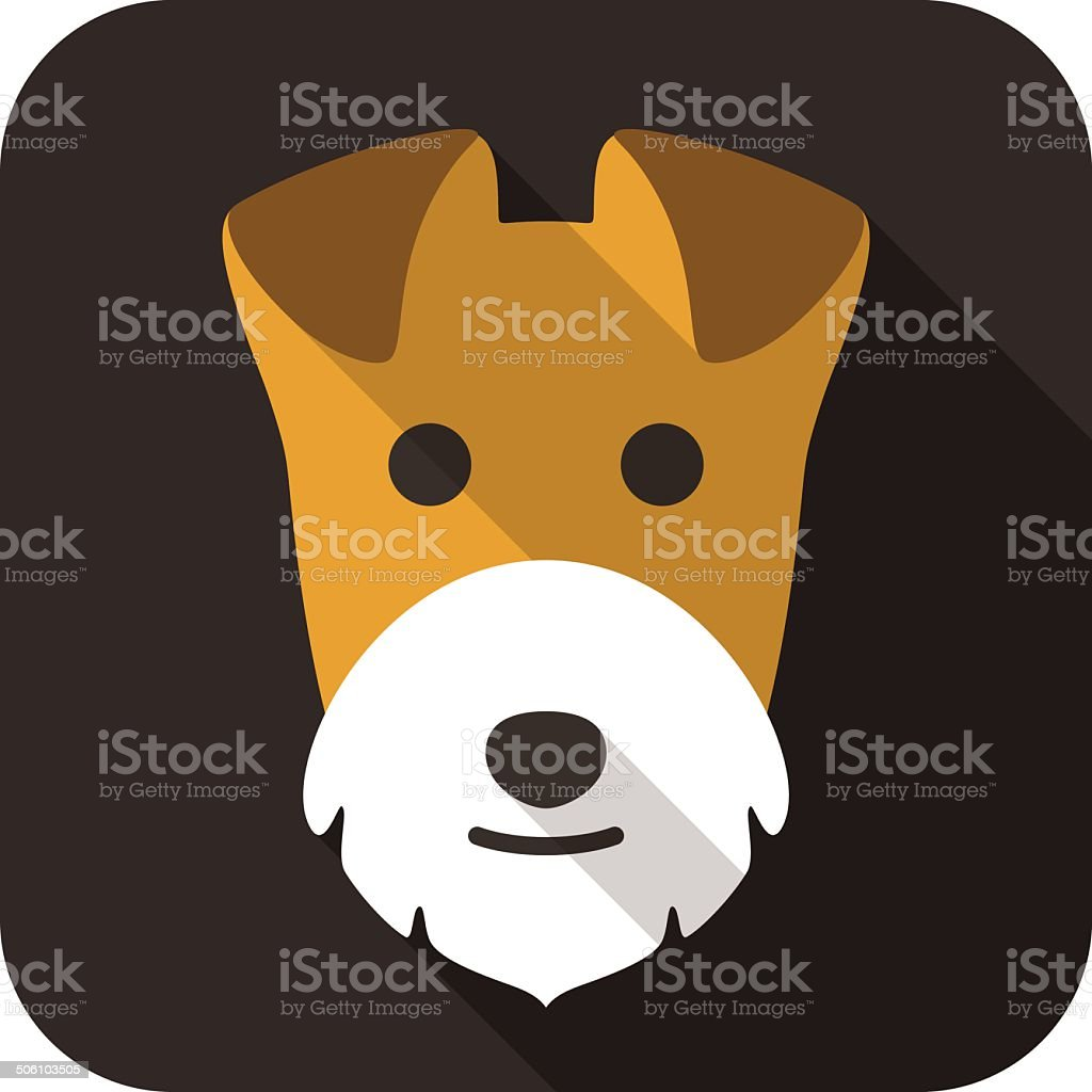 Wire Fox Terrier dog face flat icon vector art illustration