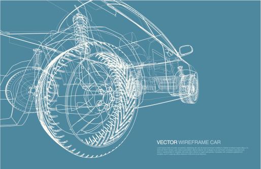 Wire frame car concept blueprint illustration