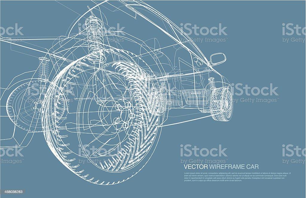 Wire frame car concept blueprint illustration vector art illustration