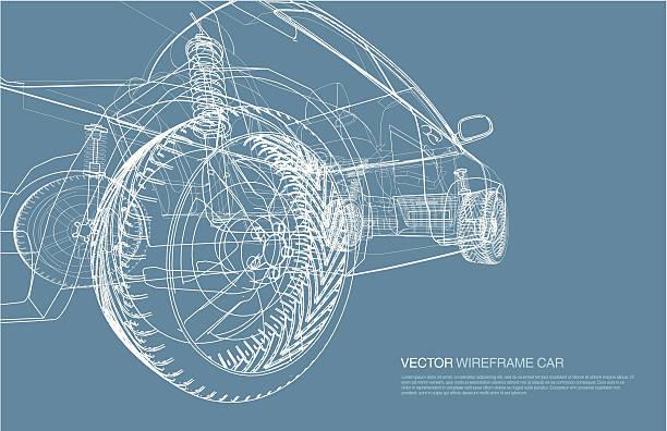 stockillustraties, clipart, cartoons en iconen met wire frame car concept blueprint illustration - motorvoertuig