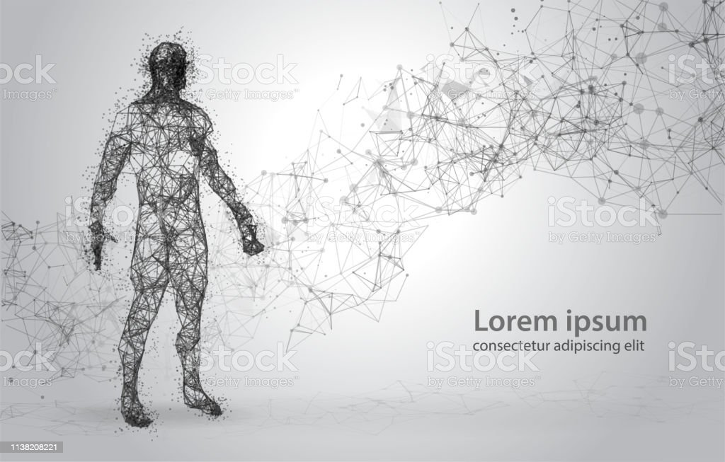 3d Wire Frame Human Body Polygonal Low Poly Stock Illustration