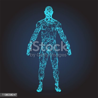 istock 3D wire frame human body Polygonal Low Poly 1138208247