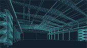 wire frame illustration of an industrial warehouse or hangar