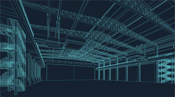 wire frame illustration of an industrial warehouse or hangar - warehouse stock illustrations