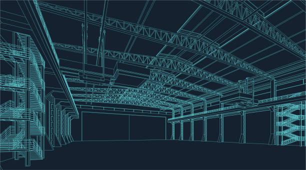 tel çerçeve çizim endüstriyel depo veya hangar - warehouse stock illustrations
