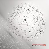 Sphere with connected lines and dots. Connection Structure. Complex geometric shapes.  Geometric Modern Technology Concept. Social Network Graphic Concept