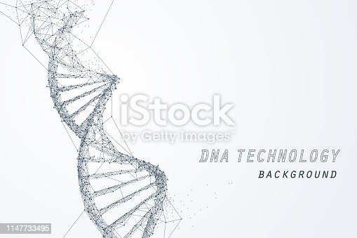 Wire frame of DNA virtual, technology and medical concept, vector art and illustration.