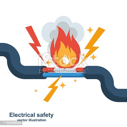 Wire is burning. Fire wiring. Faulty damaged cable. Fire from overload. Electrical safety concept. Vector illustration flat design. Short circuit electrical circuit. Broken electrical connection.