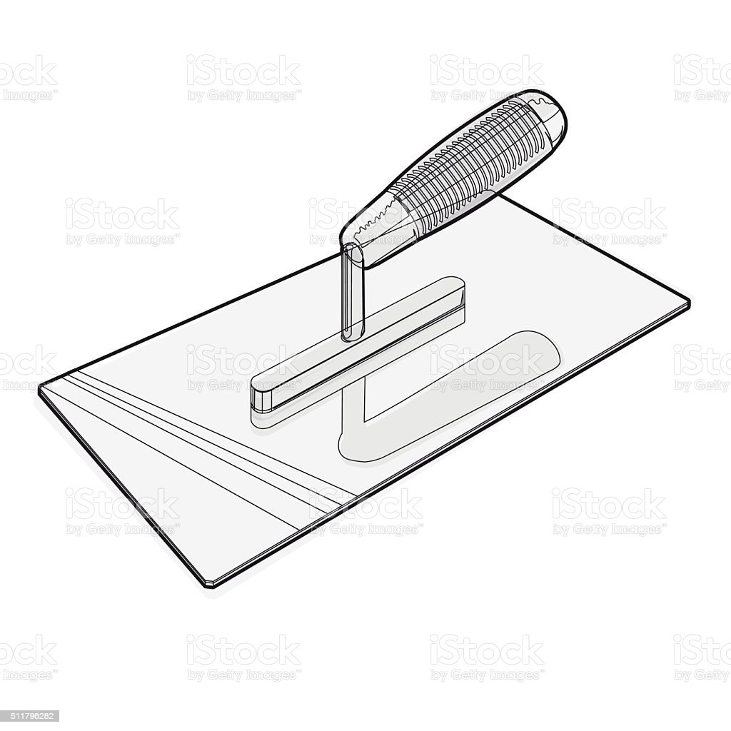 Wire nice classical pointed stucco trowel on white background. vector art illustration