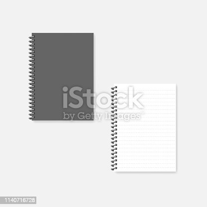 Wire bound A4 notebook with dashed line sheets, realistic mock-up. Spiral diary -  gray cover and white page, mockup.