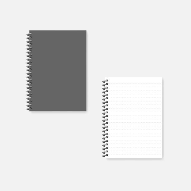 ilustrações, clipart, desenhos animados e ícones de caderno da espiral a4 do fio-tampa cinzenta e página branca, mock-up - amarrado