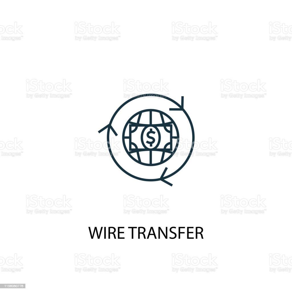 wire transfer concept line icon. Simple element illustration. wire...