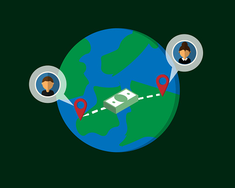 Wire transfer from one country to transfer money to overseas vector