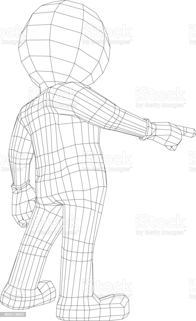 Wireaframe 3d person points a finger forward in front of him vector art illustration
